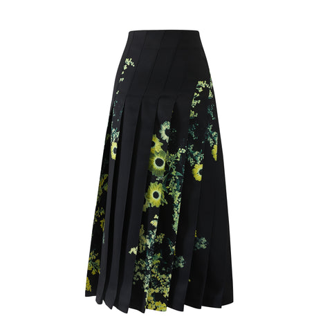 Yellow Flower Angle Pleated Skirt
