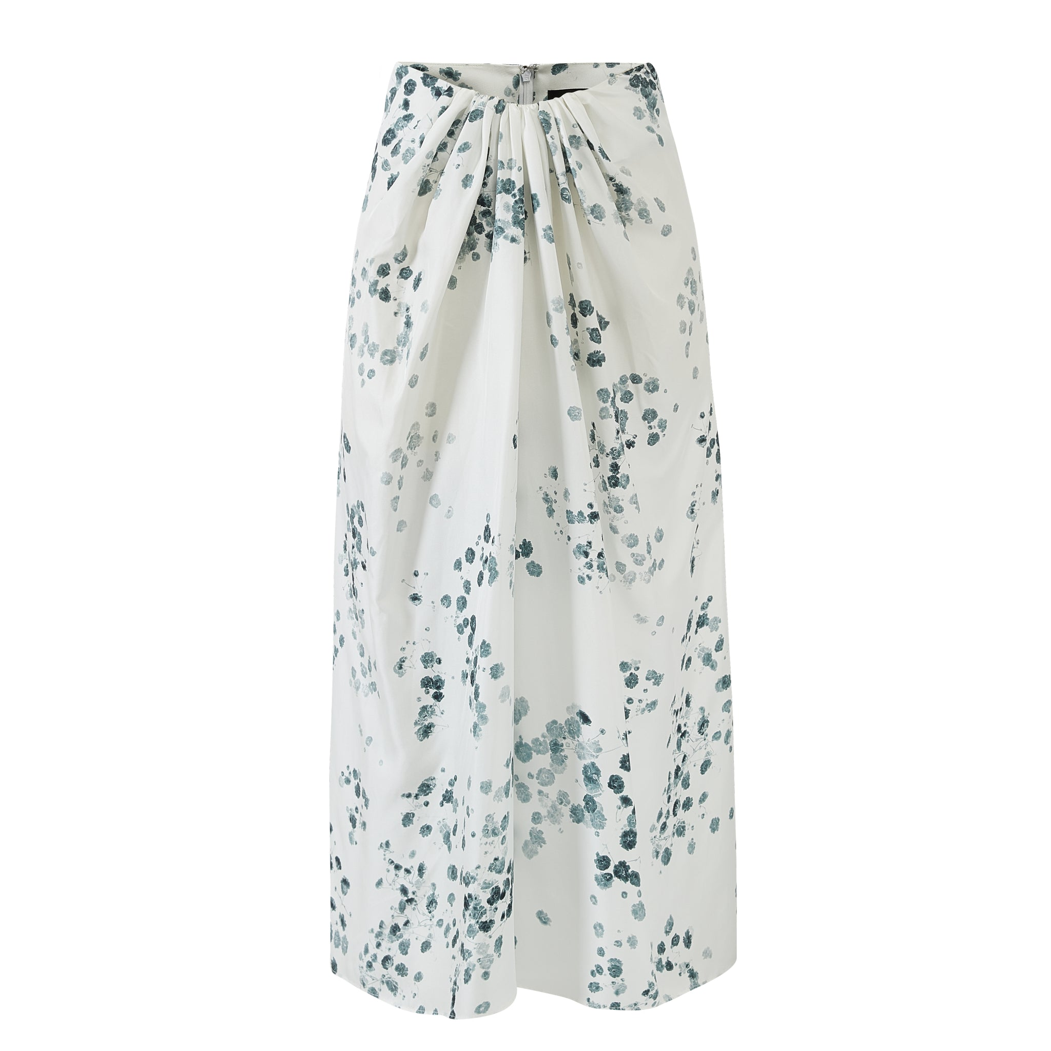 Gather Drape Front Skirt-White