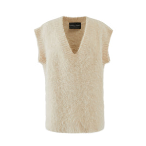 Sleeveless Cream Alpaca Knit
