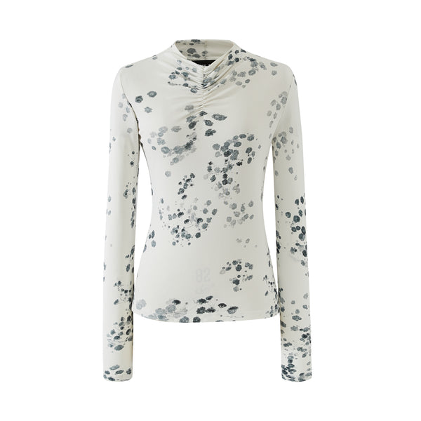 Ruche Neck Detail Jersey Top-White Black Flower Print