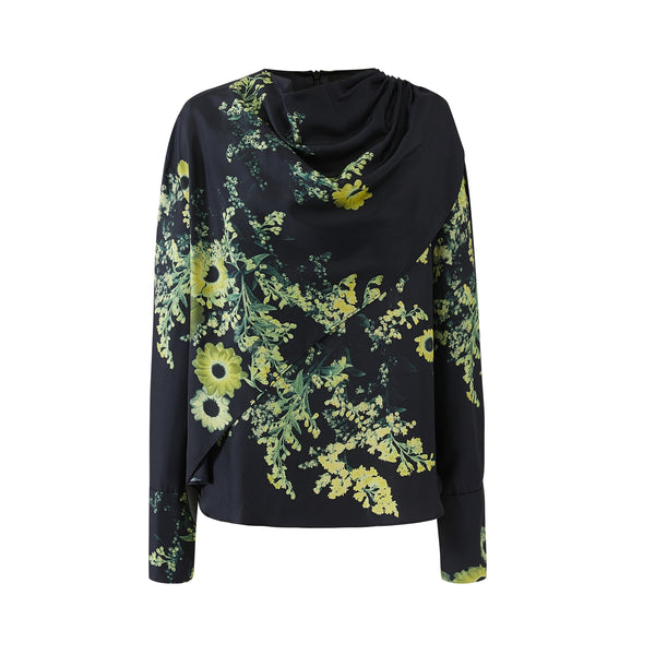 Draped Neck Layer Blouse-Yellow Flower