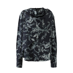 Draped Neck Layer Blouse-Black Grey Print