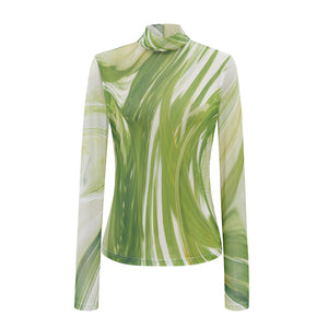 Marble Green Print Mesh Top