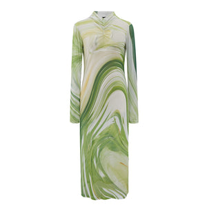 Mesh marbled green print dress