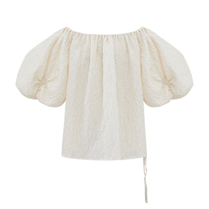 Puff Sleeve Off-Shoulder Jacquard Top