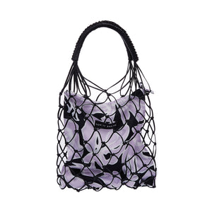 Holiday printed bucket bag-Lilac and Black Print