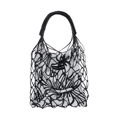 Holiday printed bucket bag-Black and White print