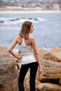 BondiEco white stretch racer in bamboo. Sustainable and great for sensitive skin.