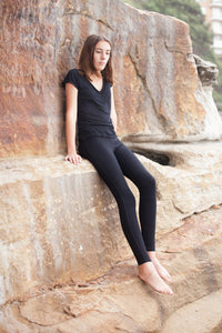 BondiEco bamboo leggings, mid waist, slimming no dig waist band. Perfect yoga, pilates leggings. Super soft and comfortable