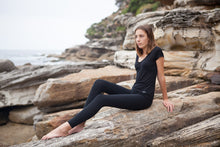 Load image into Gallery viewer, BondiEco Bamboo, organic cotton, leggings.  Black. High waisted, slimming. Perfect for yoga and pilates.