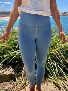 BondiEco Bamboo, organic cotton, leggings.  Light Blue. High waisted, slimming. Perfect for yoga and pilates.