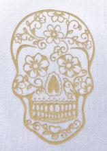 Load image into Gallery viewer, BondiEco Long sleeve luxe modal t-shirt with subtle gold sugar skull print.