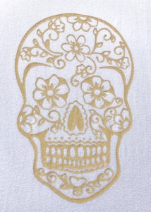 BondiEco Long sleeve luxe modal t-shirt with subtle gold sugar skull print.