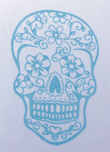 Load image into Gallery viewer, BondiEco Long sleeve luxe modal t-shirt with subtle light blue sugar skull print.