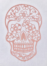 Load image into Gallery viewer, BondiEco Long sleeve luxe modal t-shirt with subtle rose sugar skull print.