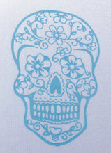Load image into Gallery viewer, Long Sleeve T-shirt - Sugar skull design - Modal fabric - White/Light Blue