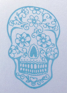 Long Sleeve T-shirt - Sugar skull design - Modal fabric - White/Light Blue