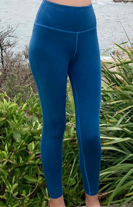 Leggings - High waist, slimline - Bamboo leggings- Aqua blue