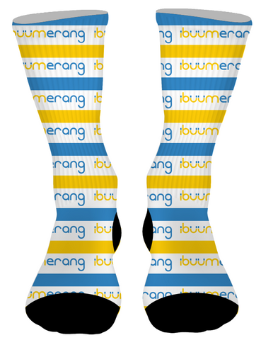 White Sublimated Text Socks