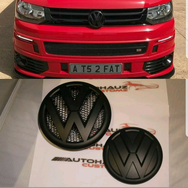 T5 MATTE BLACK BADGE EMBLEM FRONT /& REAR BADGE SET TDI