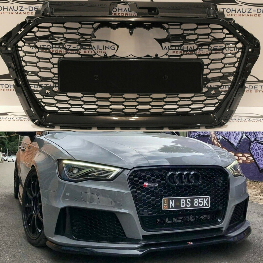 AUDI RS3 FRONT GRILL 2015+ HONEYCOMB MESH GRILL GLOSS ...