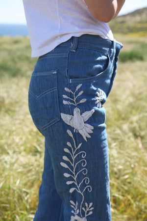 Vintage 70s Embroidered Jeans