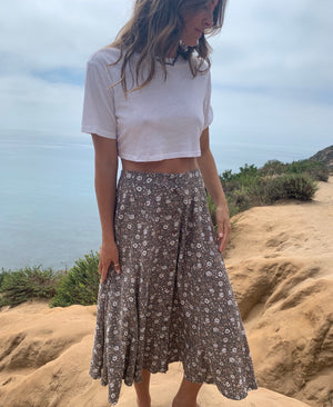 Brown & White Floral Vintage Skirt