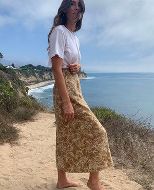 Tan Floral Vintage Wrap Skirt