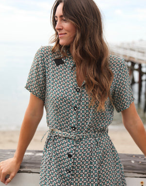 Antique Geometric Belted dress