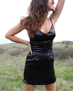 Vintage Black Sequin Dress