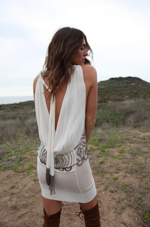 Vintage Beaded Backless White Mini Dress