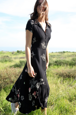 Vintage Black Floral Silk Dress