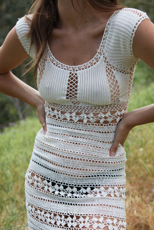 White Cap Sleeve Crochet Dress