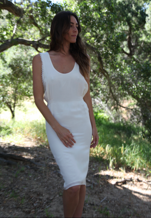 Stone Cold Fox Silk Backless White Dress