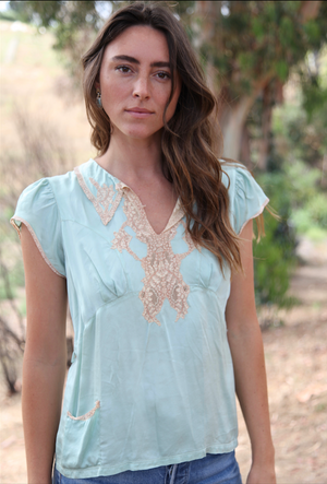 Anitque Blue Silk & Lace Top