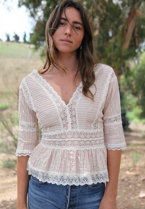 Antique Mexican Lace Pink Top