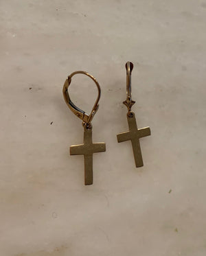 Vintage Solid Gold 14k Cross Earrings
