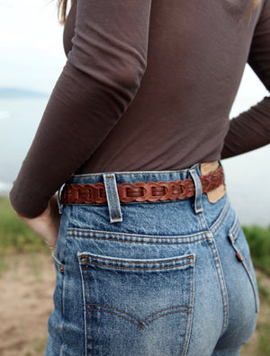Vintage Brown Braided Leather Belt