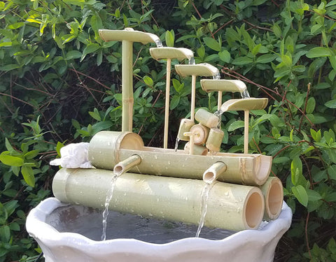 DryInsta Bamboo Water Fountain with Pump for Patio Style F - Dryinsta