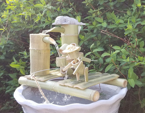 DryInsta Bamboo Water Fountain with Pump for Patio Style D - Dryinsta