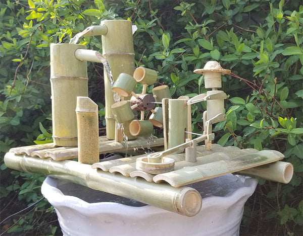 DryInsta Bamboo Water Fountain with Pump for Patio Style A - Dryinsta