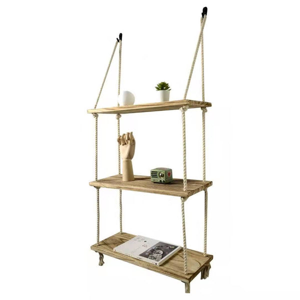 Rustic Solid Wood Rope Hanging Wall Shelf Country Vintage Storage Floating Shelf - Dryinsta