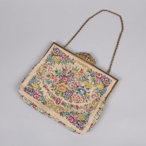 1950s embroidered cream bag