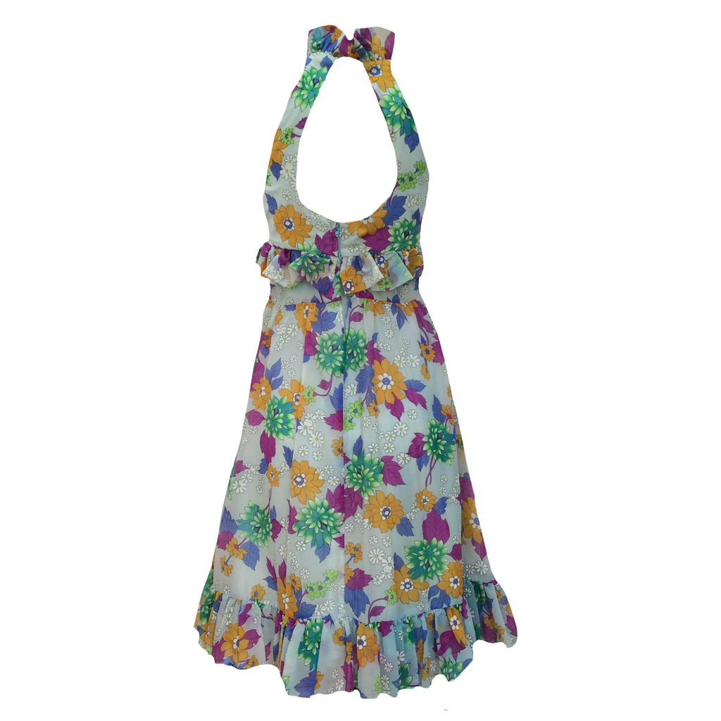1970s floral ruffled cocktail dress