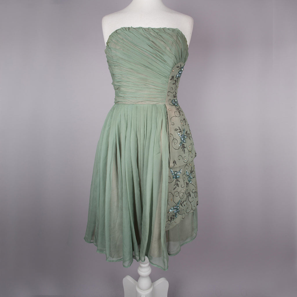 1950s green chiffon vintage  prom dress by Phyllis Taylor
