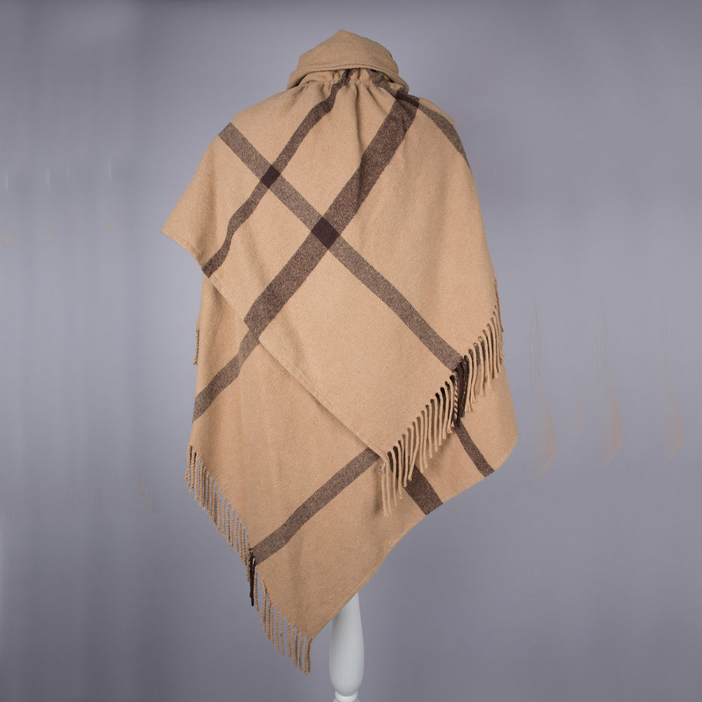1960s beige and brown vintage fringed cape