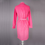 1970s pink corduroy vintage shirt dress