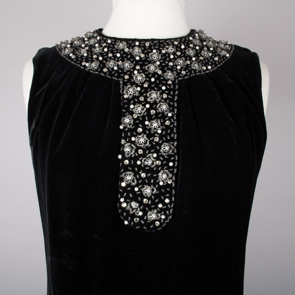 1960s elegant black velvet vintage evening gown
