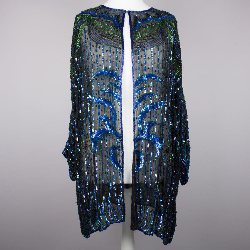 1980s open front sequinned vintage long jacket