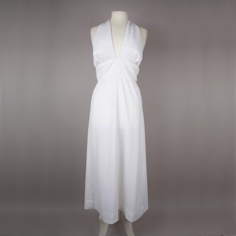 1970s white halter neck vintage maxi dress by Richard Shops